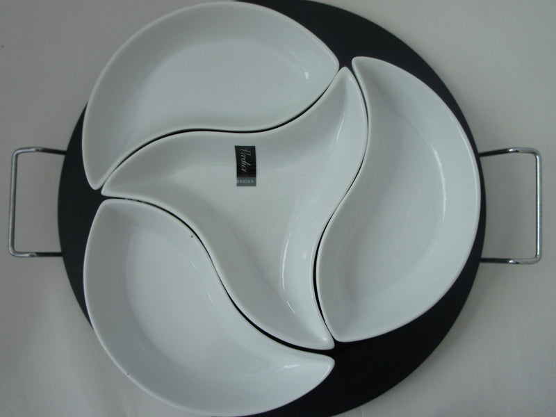 Verdici Platter with Handles and Four Sectional Bowls