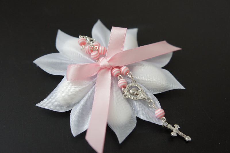 White Confetti Ribbon with Pink Car Rosary