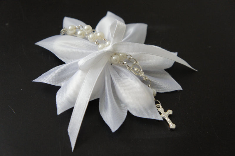 White Confetti Ribbon with White Car Rosary