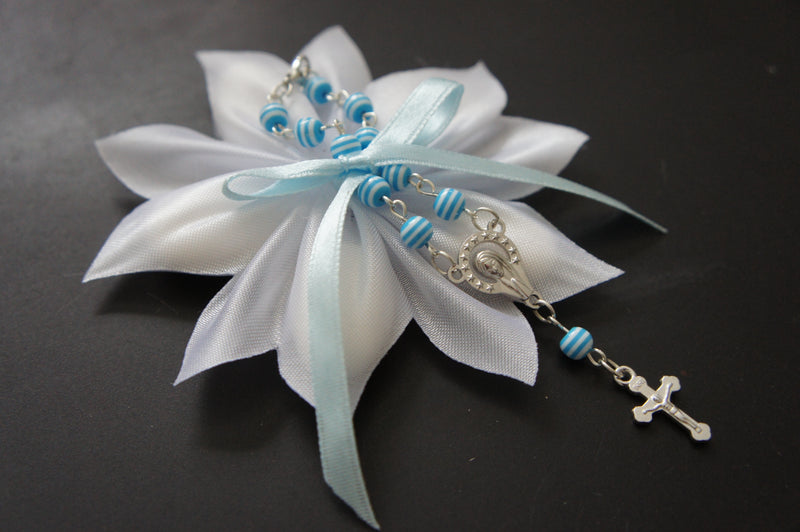 White Confetti Ribbon with Blue Car Rosary