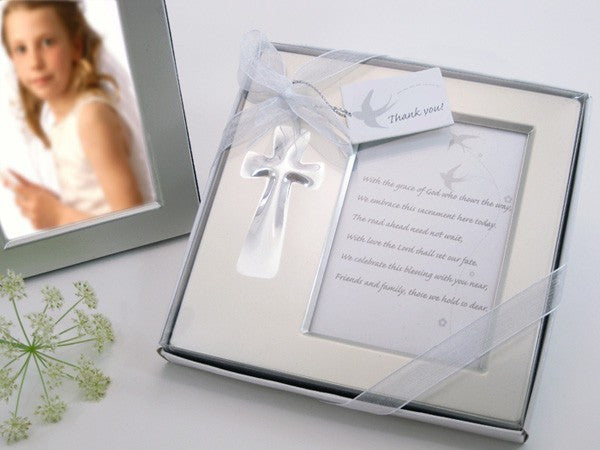"""Bless this Day"" Cross Photo Frame Favor in Gift Box"