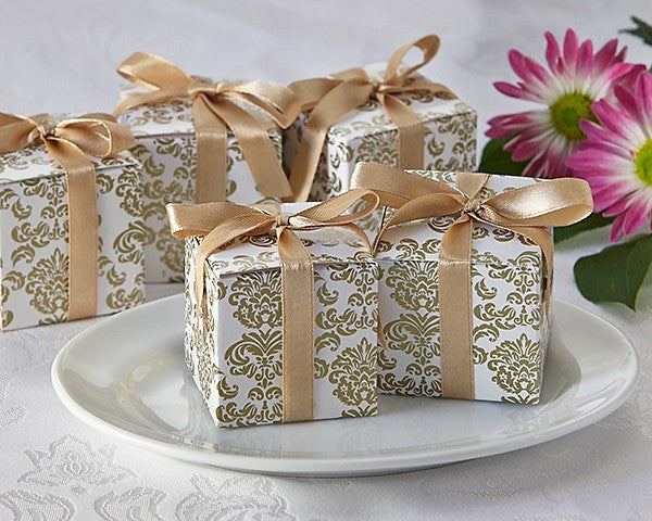 """Classic Damask"" in Gold Square Favor Box (24 Pack)"