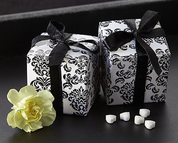 """Classic Damask"" in Black & White Square Favor Box (24 Pack)"