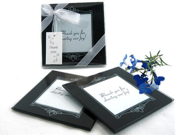 "Memories Forever"" Glass Photo Coasters in Black (Set of 2)"