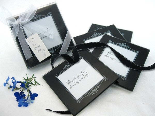 "''Memories Forever"" Glass Photo Coaster in Black (Set of 4)"