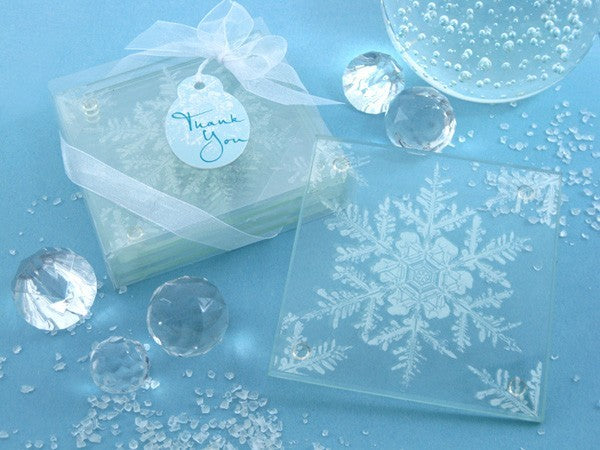 """Shimmering Snow Crystal"" Frosted Snowflake Glass Coasters"