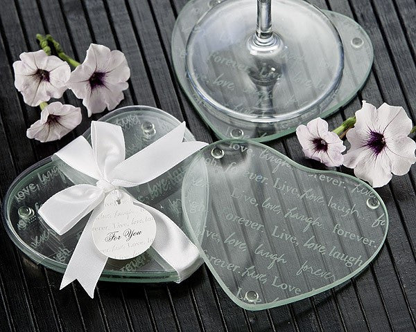 """Live, Love, Laugh...Forever"" Heart Glass Coasters (Set of 2)"