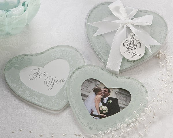 """Heartfelt Memories"" Frosted Heart Photo Coasters (Set of 2)"