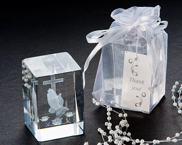 """Blessed Prayer"" Laster Etched Crystal Favors"