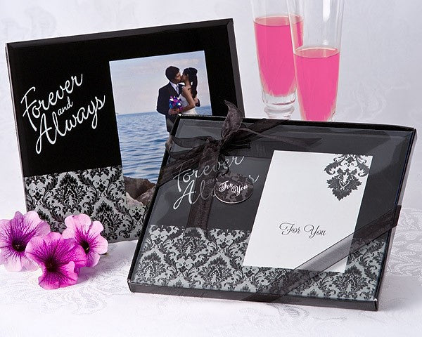 """Forever and Always"" Damask Photo Frame Favor"