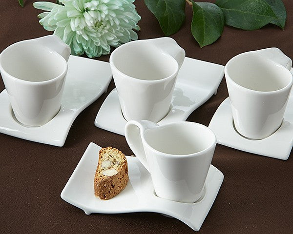 """Swish"" Cup and Biscotti Plate Favor (Set of 4)"