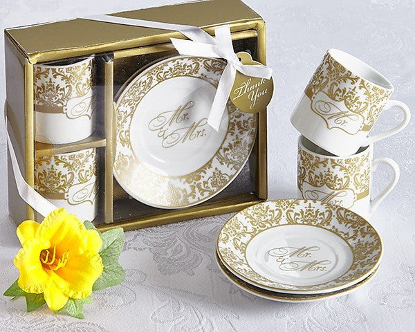 Mr. & Mrs Espresso Cup Favor Set in Gold (Set of 2)
