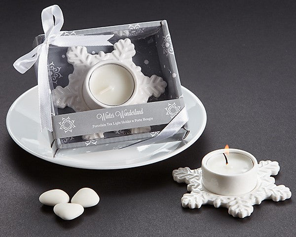 """Winter Wonderland"" Porcelain Tea Light Candle Holder"