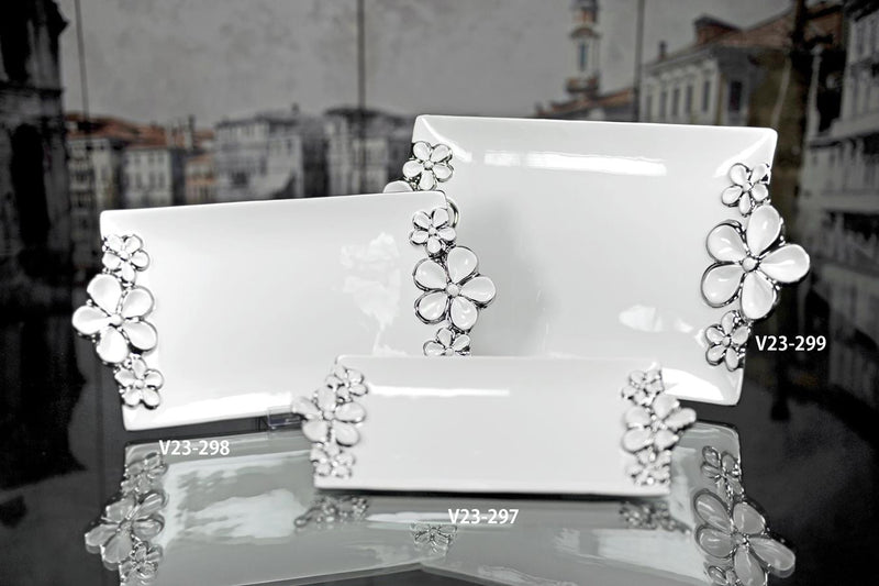 Verdici White Plate with Silver Floral Design
