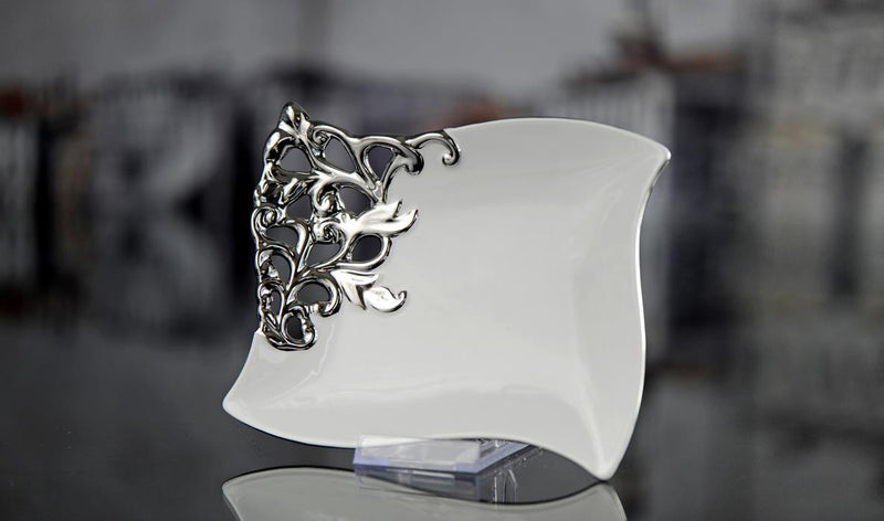 White Decorative Square Dish with Silver Accent