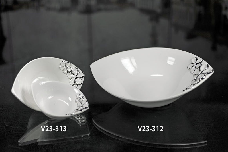 Oval White Bowls with Silver Floral Design - Set of 2