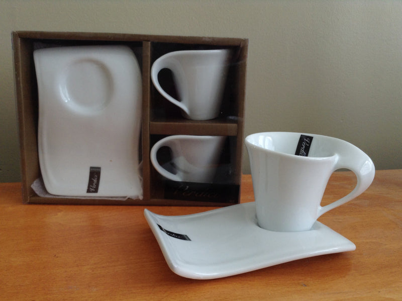 White Espresso Cup and Saucer (Set of 2)