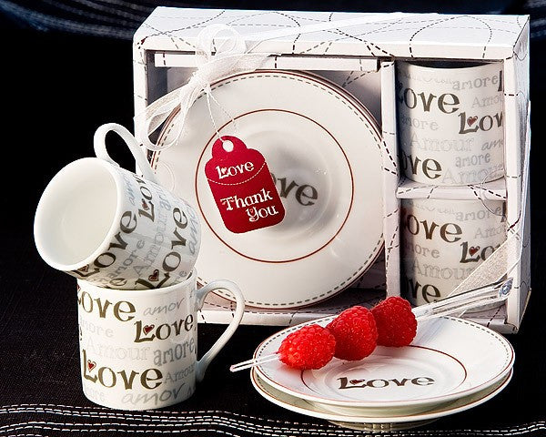 """Language of Love"" Espresso Cup Favor Set"