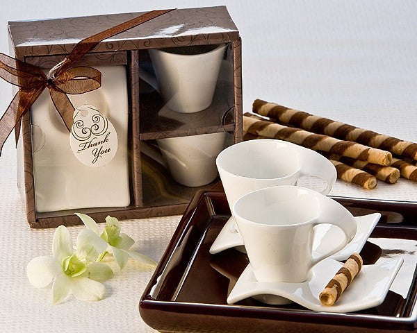 """Swish"" Espresso Cup and Biscotti Plate Favor (Set of 2)"
