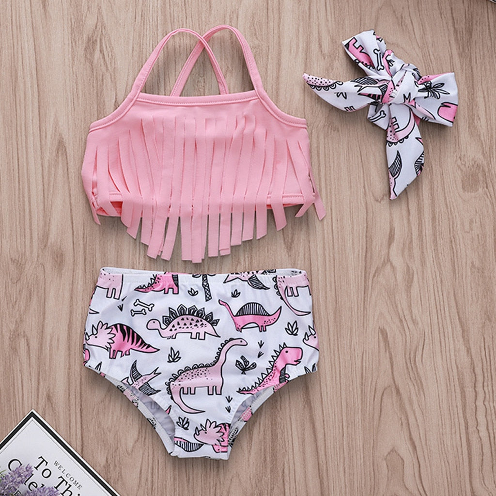 Baby Girl Dinosaur Print Swimsuit Set - DinoGoods