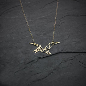 Gold Pterodactyl Necklace - DinoGoods