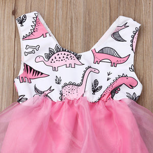 Adorably Pink Dino Baby Romper with Tulle