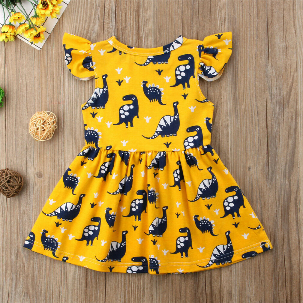 Sleeveless Baby Girls Dinosaur Dress - DinoGoods