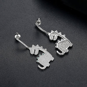 Cubic Zirconia Cute Dinosaur-Shaped Earrings