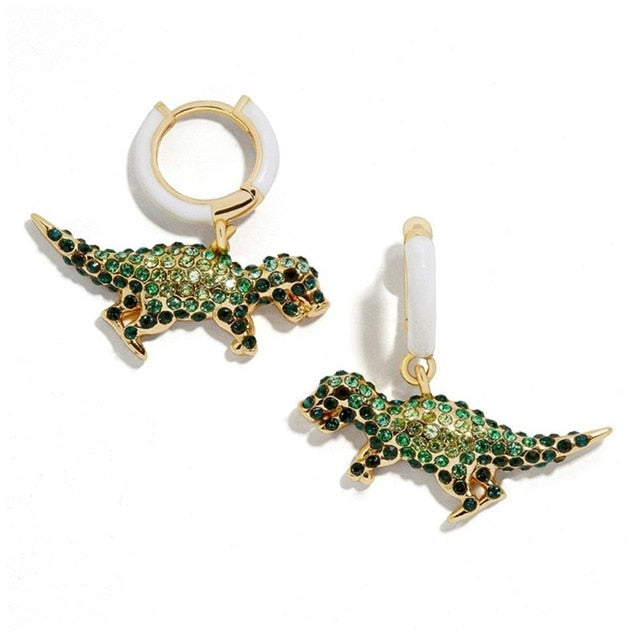 Rhinestone Dinosaur Earrings