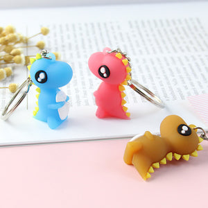 Shy Cartoon Dinosaur Keychain