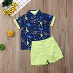 Boys Collared Cartoon Dinosaur Print Outfit - DinoGoods
