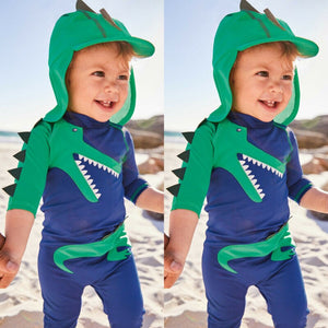 Alligator Toddler Swimwear With Swimming Cap - DinoGoods