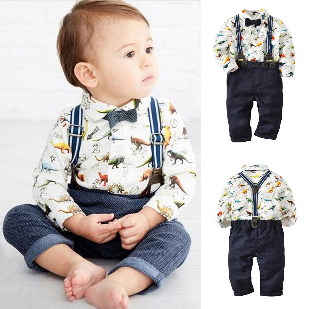 Dapper Dinosaur Outfit With Bowtie & Suspenders - DinoGoods
