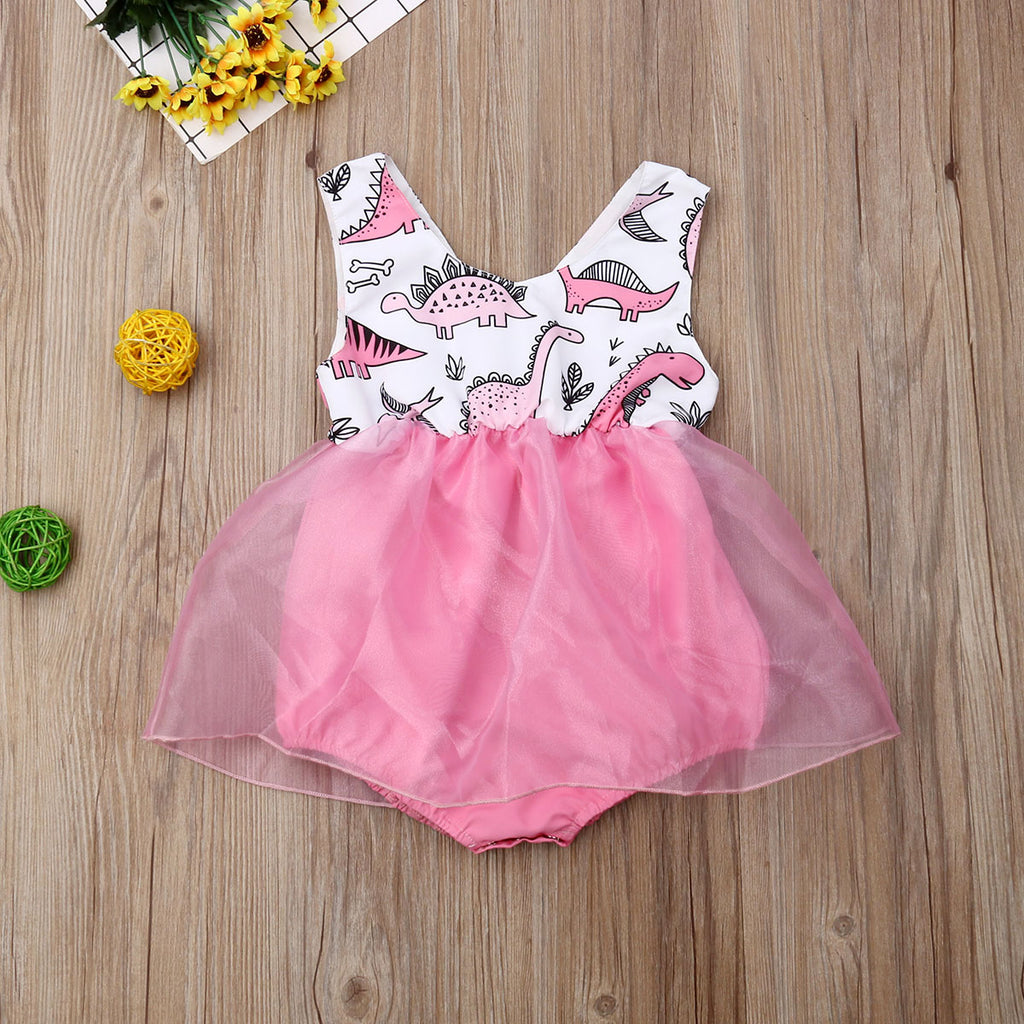 Adorably Pink Dino Baby Romper with Tulle - DinoGoods