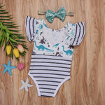 Striped Dinosaur Romper with Headband - DinoGoods
