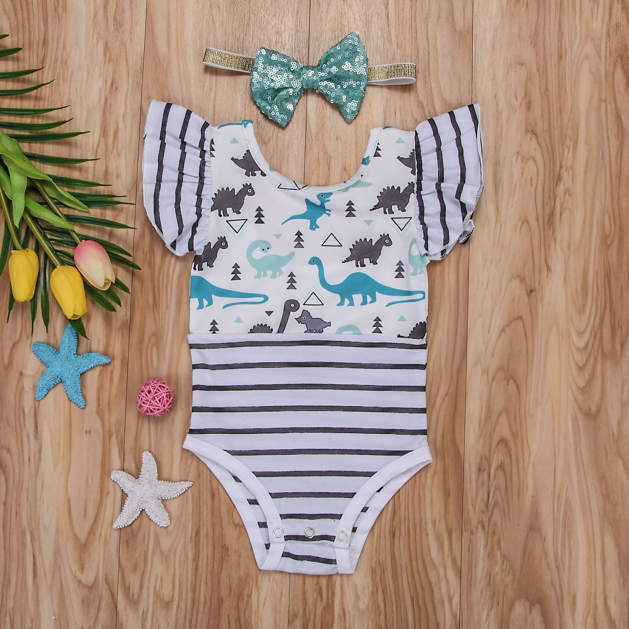 Striped Dinosaur Bodysuit with Headband