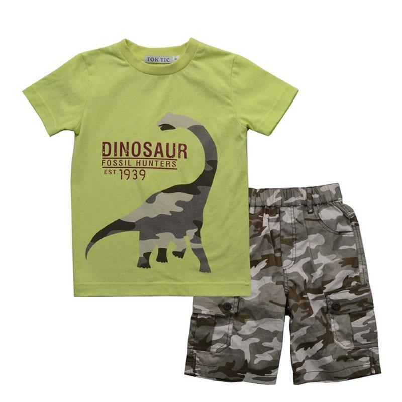Camo Dinosaur Fatigues Kids Clothes Set - Dinosaur Themed Gifts & Accessories