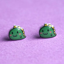 Blushing Cartoon Dinosaur Stud Earrings