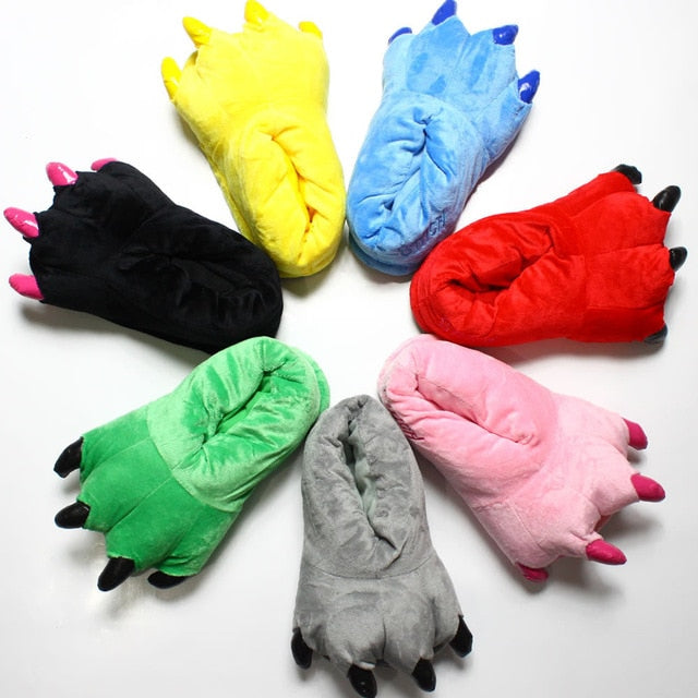 Kids Dinosaur Fluffy Claw Slippers - DinoGoods