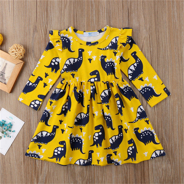 Vibrant Yellow Toddler Girls Dinosaur Dress