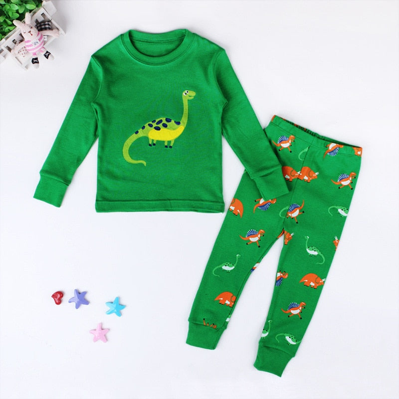 Children's Green Brontosaurus Dinosaur Pajamas