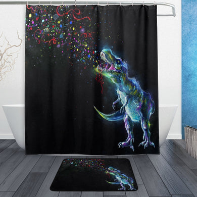 Rainbow Dinosaur Shower Curtain and Mat Set - Dinosaur Themed Gifts & Accessories