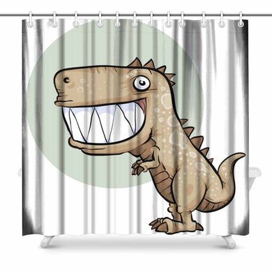 Happy T-Rex Shower Curtain - Dinosaur Themed Gifts & Accessories
