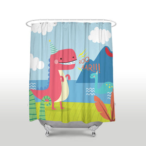 Roaring Dinosaur Pattern Shower Curtain - Dinosaur Themed Gifts & Accessories