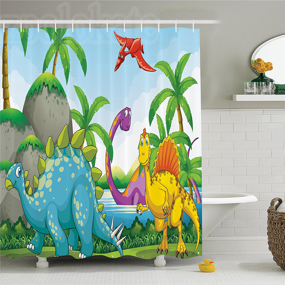 Jurassic Colorful Dinosaur Shower Curtain - Dinosaur Themed Gifts & Accessories