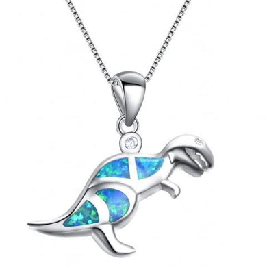 Ice Ice Dino Fire Opal Pendant - Dinosaur Gifts & Accessories
