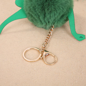 Fluffy Dinosaur Pom Pom Keychain - Dinosaur Themed Gifts & Accessories