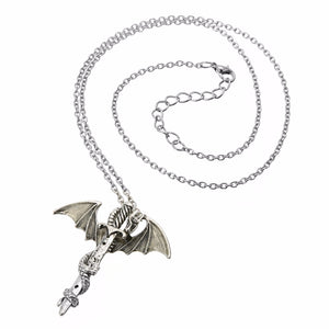 Glow in the Dark Dragon Sword Necklace - Dinosaur Themed Gifts & Accessories