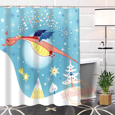 Cartoon Dragon Shower Curtain - Dinosaur Themed Gifts & Accessories