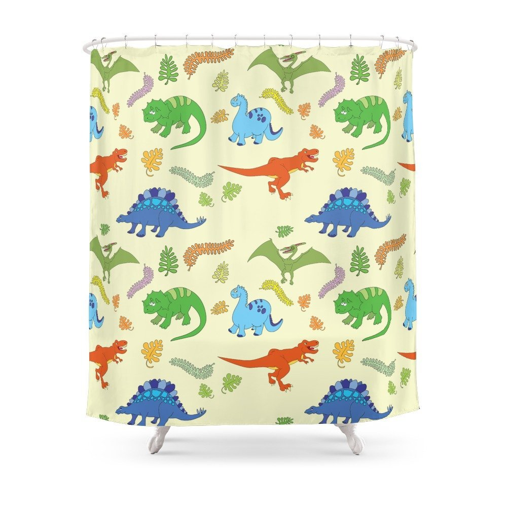 Dinosaur Pattern Shower Curtain for Kids - Dinosaur Gifts & Accessories